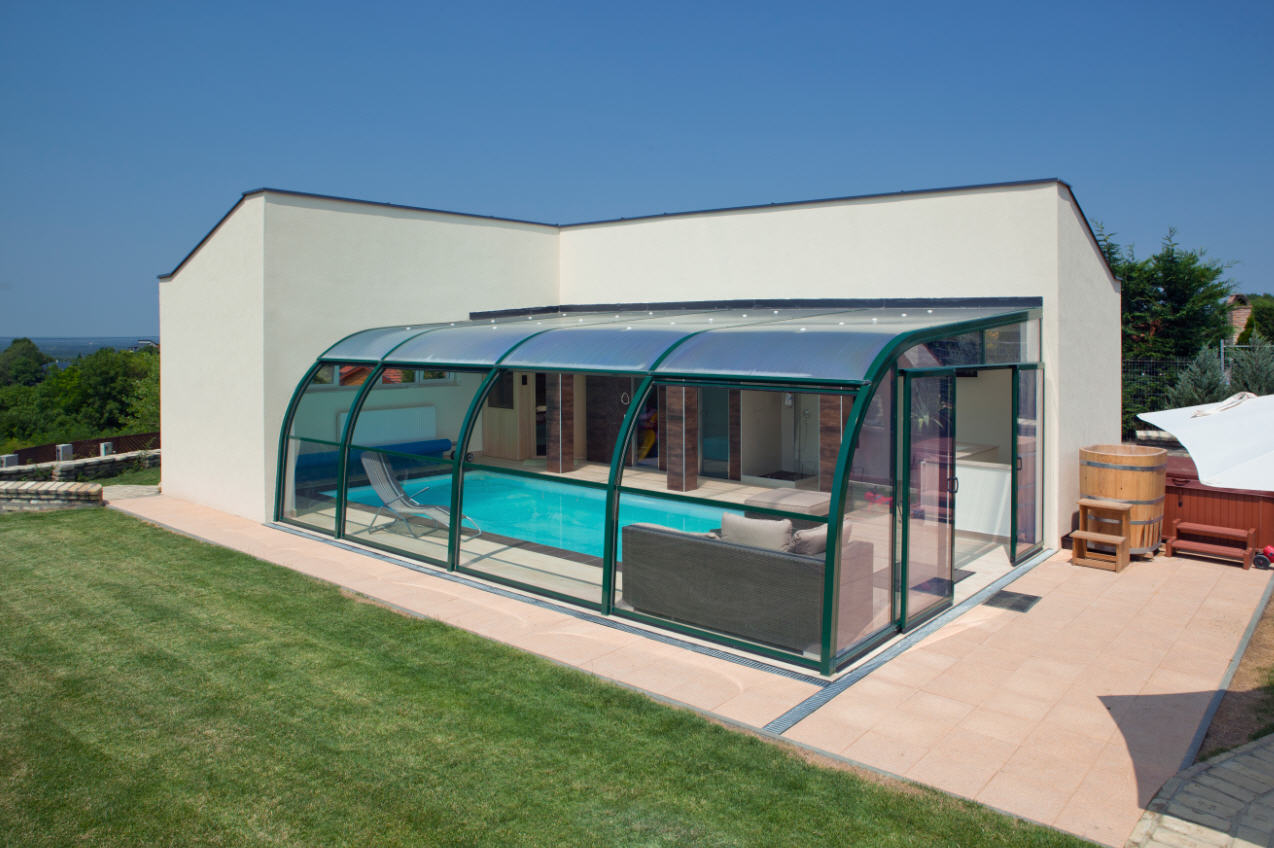 Galaxy-Domestic-Pool-Enclosure-Lean-to-Asymmetric-Sliding-End-Doors-and-Lift-Up-Sides-Green