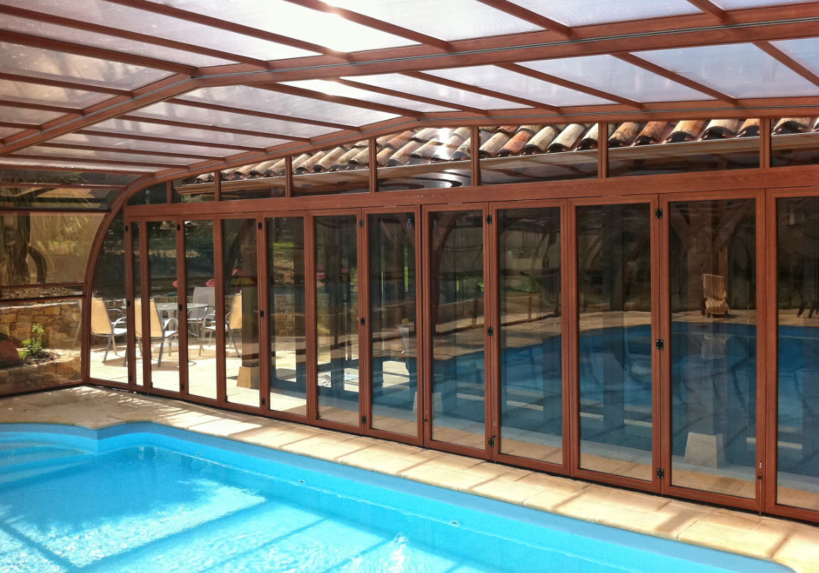 Galaxy-Door-Option-Folding-End-Doors-Wood-Effect-Large-Pool-Enclosure